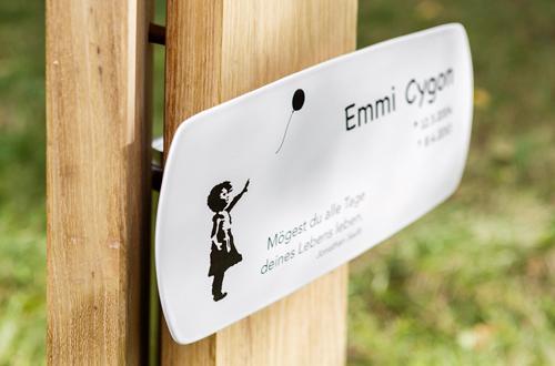 Emaille Grabschild Kindergrab