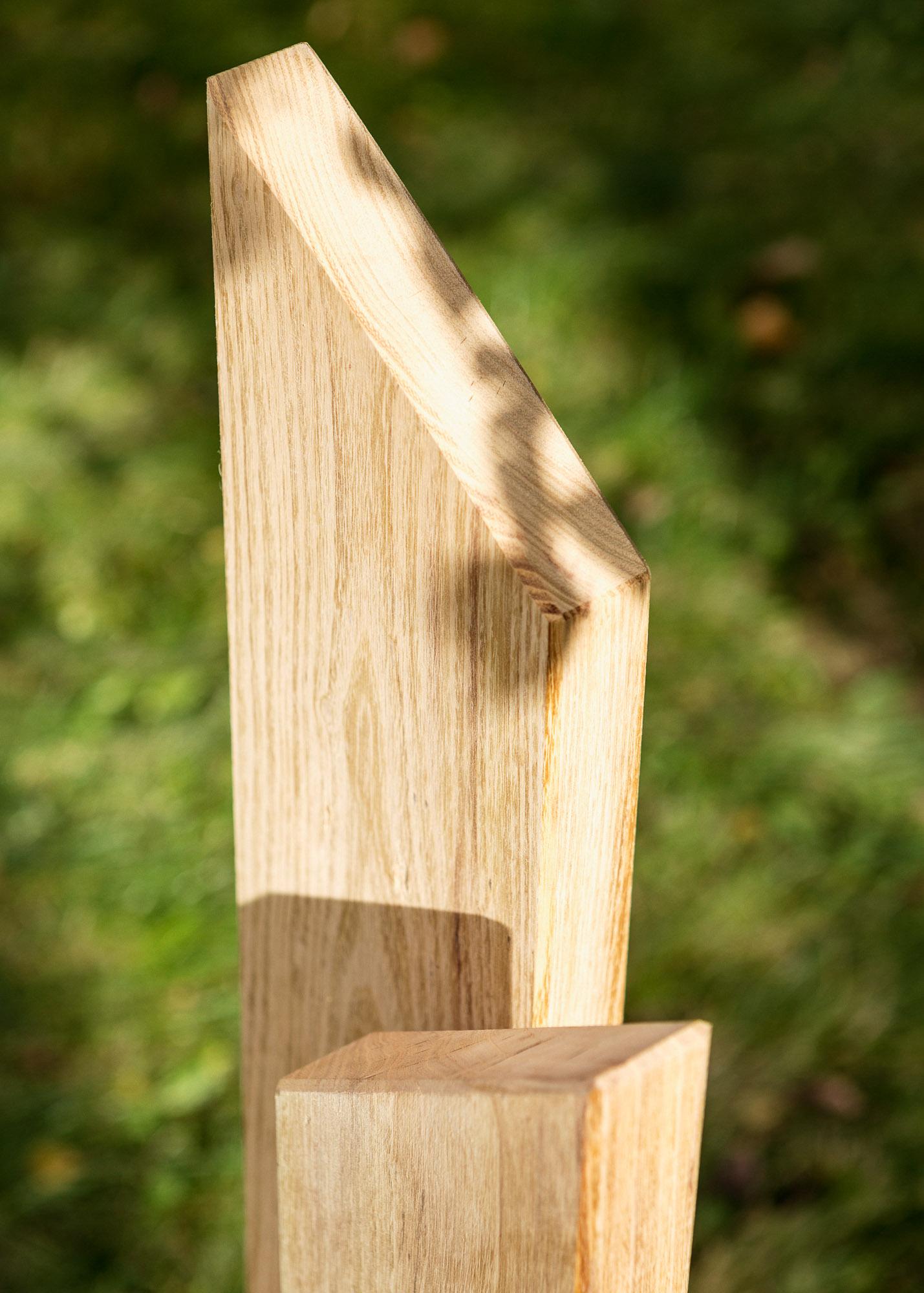 Grabmal aus Holz Stele mit Emaille-Schild