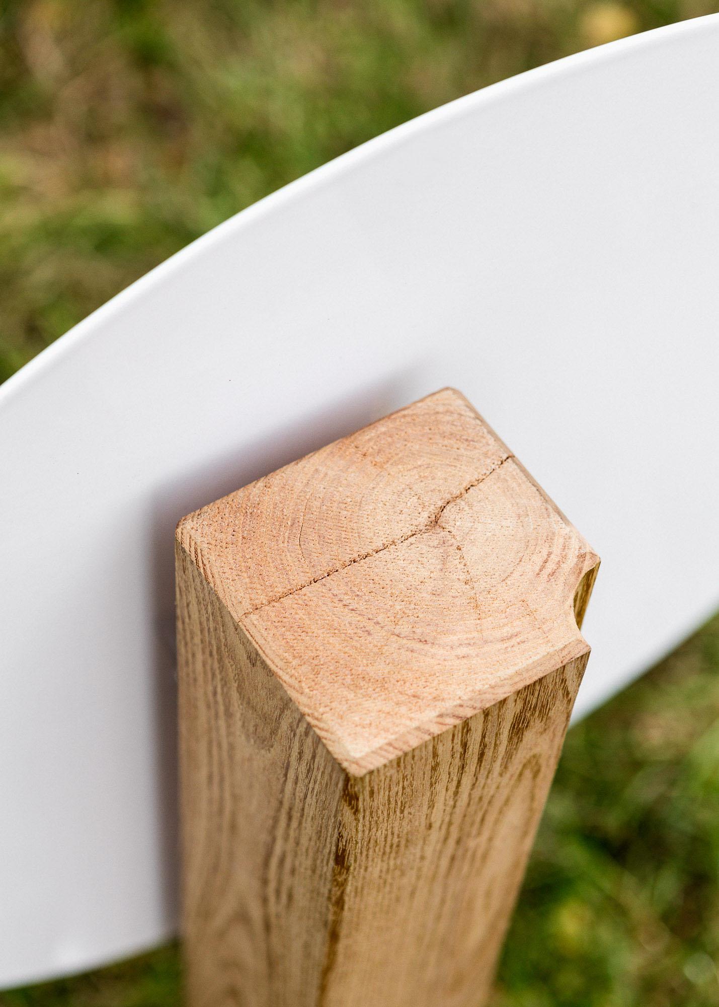 Holzgrabmal - profilierte moderne Stele mit runder Emaille als Einzelgrabmal oder Familiengrabmal